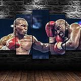 XIAYUU Mike Tyson Evander Boxeo Cuadro sobre Lienzo 5 Piezas Impresión en Lienzo HD Cuadro De Pintura Póster De Arte Moderno Decoración de Pared.(con Marco 150x80 cm)