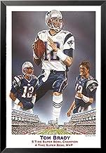 buyartforless Work Framed Tom Brady 5 Champion 4 Time Super Bowl MVP 36x24 Sports Art Print Poster, Blue