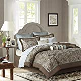 Madison Park Aubrey King Size Bed Comforter Set Bed In A Bag - Blue, Brown , Paisley Jacquard – 12 Pieces Bedding Sets – Ultra Soft Microfiber Bedroom Comforters