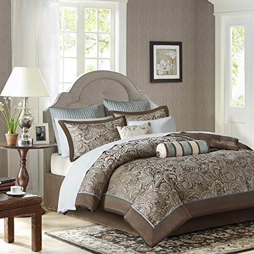 Madison Park Aubrey King Size Bed Comforter Set Bed In A Bag - Blue, Brown , Paisley Jacquard  12 Pieces Bedding Sets  Ultra Soft Microfiber Bedroom Comforters