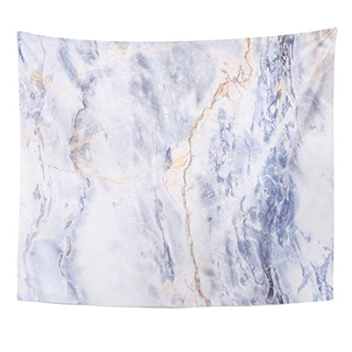 TOMPOP Tapestry Blue Gold Gray Light Marble Stone Watercolor White Color Home Decor Wall Hanging for Living Room Bedroom Dorm 50x60 Inches
