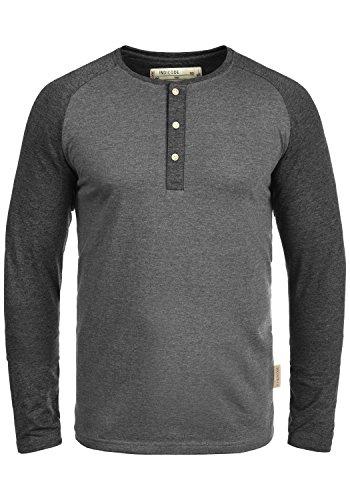 Indicode Winston Herren Longsleeve Langarmshirt Shirt Mit Grandad-Ausschnitt, Größe:L, Farbe:Grey Mix (914)