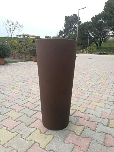 Vaas kleur brons VECA CLOU rond hoog 65 cm Cache-Pot uittrekbaar AMDGarden