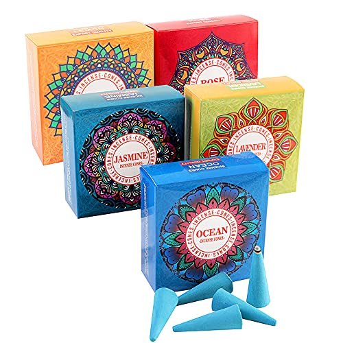 Incense Cones 80 Pcs 5 Mixed Natural Scents Ocean, Lemon, Jasmine, Lavender, Rose Variety Gift Pack
