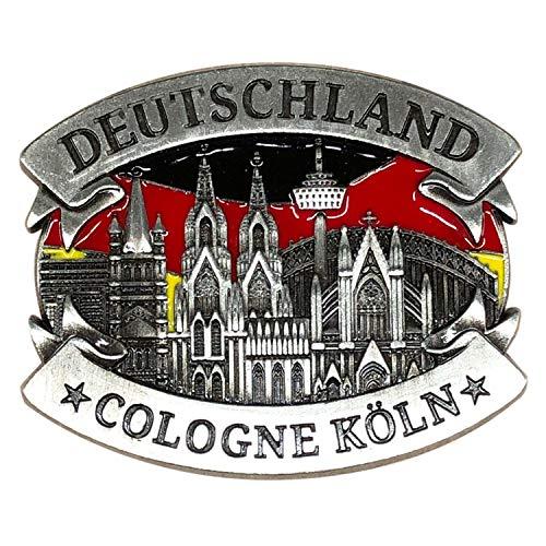 3forCologne Kühlschrankmagnet aus Metall, Köln Deutschland Magnet stark, als Deko für Kühlschrank Magnettafel Magnetwand, in Silber