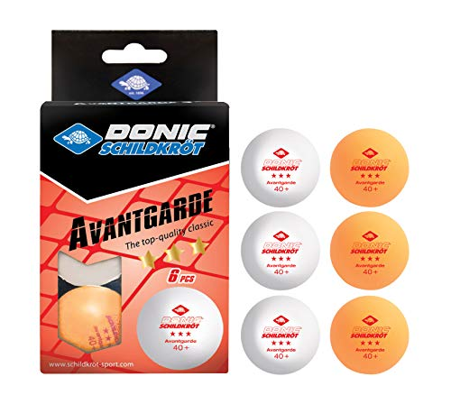 Donic-Schildkröt Palline da Ping Pong Avantgarde 3-Stelle, Qualità Poly 40+, 6 Unità in un Blister, 3x Bianco/3x Arancione, 608533