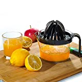 Odetina Citrus Juicer, Lemon Squeezer with Strainer and 17oz Container, Hand Juicer Orange Press Manual Juice Maker for Lemon Orange Lime Grapfruit, ABS Material, Transparent Black