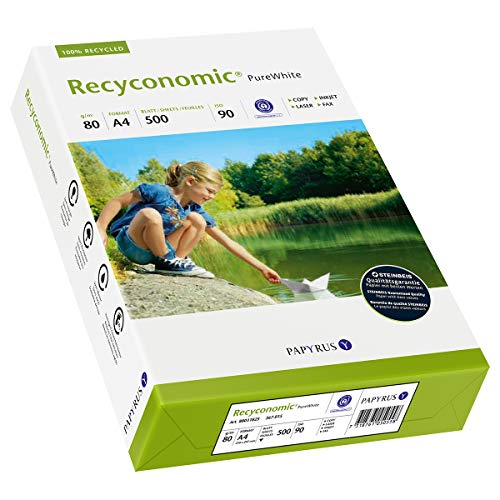 Papyrus 88031825 Recycling-Papier, Druckerpapier Recyconomic PureWhite 80 g/m ², DIN-A4, 500 Blatt, matt, weiß