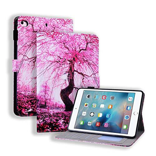 Miagon Hülle für iPad Mini 5/4/3/2/1 {7.9 Zoll},Pu Leder Schutzhülle Case Cover mit Kartensteckplatz Ständer Funktion,Kirschblüten
