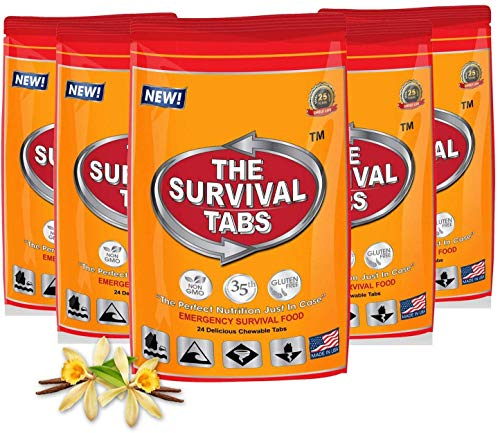 120 tabs Snack Food for 10 Days Emergency Survival MREs Meals Ready-to-eat Bugout for Travel Camping Boating Biking Hunting Activities Gluten Free and Non-GMO 25 Years Shelf Life - Vanilla Malt Flavor
