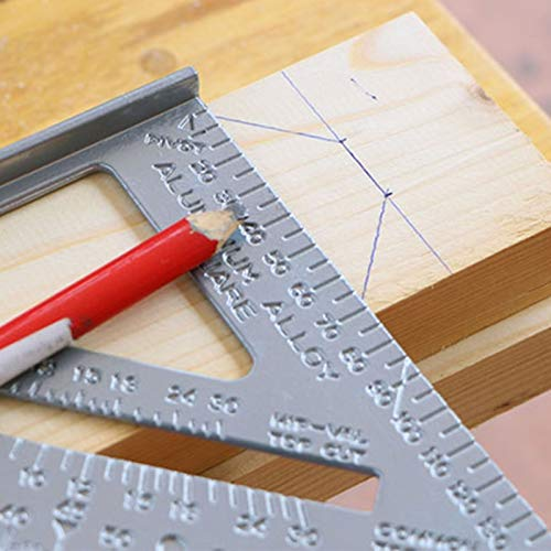 2PCS Speed Square, 7-Inch Aluminum Square Tool, Carpenter Square with Protractor Saw Guide, Made of Premium Hardened Steel