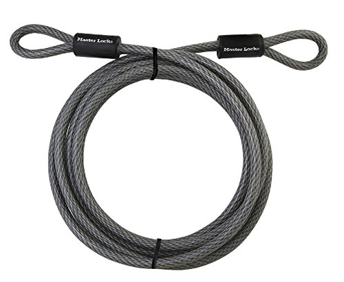 Master Lock Cable, Steel Cable With Looped Ends, 72DPF,Black,15' x 3/8