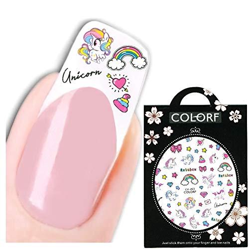 JUSTFOX - 3D Nagel Sticker Nail Art Aufkleber Einhorn Unicorn Regenbogen Aufkleber New Design