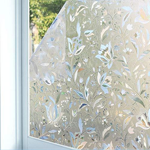 Emmala raamfolie voor deco-glas 3D privacy zonder lijm statisch sticker van glas voor badkamer huis A 60 x 100 cm (24X39 Pollici)