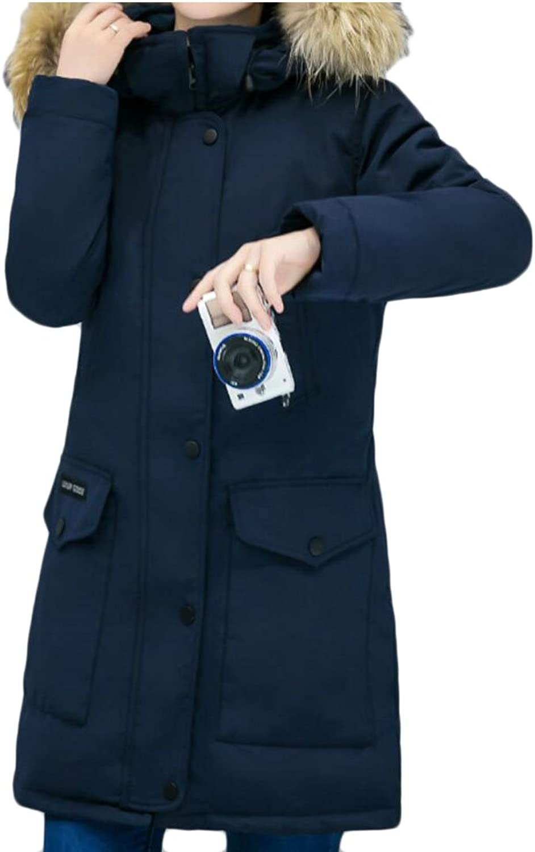 GAGA Women's Warm Long Sleeve Fur Collar Hooded Fashion Long Down Coat