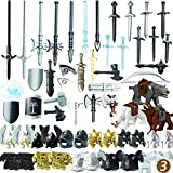 Lingxuinfo Custom Weapons Pack, 56PCS Army Military Weapons Guns for Minifigures Building Block, Ancient Greek Ancient Roman Medieval Weapon Armor Kit Compatible with Major Brand