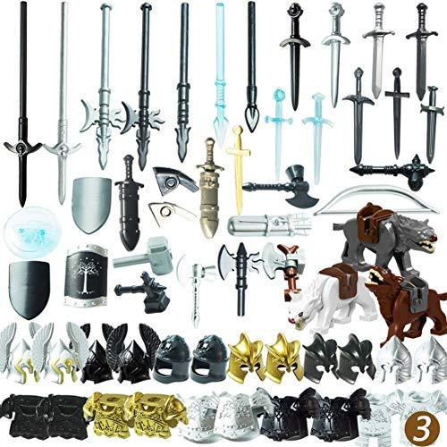 PARIO 56St. Ritter Helm, Ritter Weste und Custom Waffen Set für Ritter Mini Figuren SWAT Team Polizei, kompatibel mit Lego