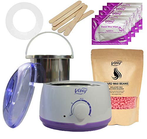 Wax Warmer, Hair Removal Waxing Kit, Electric Pot Heater Melts with Accessories. Painless Rapid Waxing of Face, Body, Bikini Area, Total Home Waxing Solutions for Men &Women by Vaxy