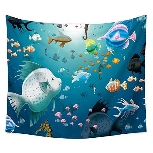 CDSS Monde sous-Marin Tapisserie Poissons Impression Tenture Murale Tapisseries Décor à la Maison Serviette de Plage Tapis de Yoga Pique-Nique Couverture Nappe, 3