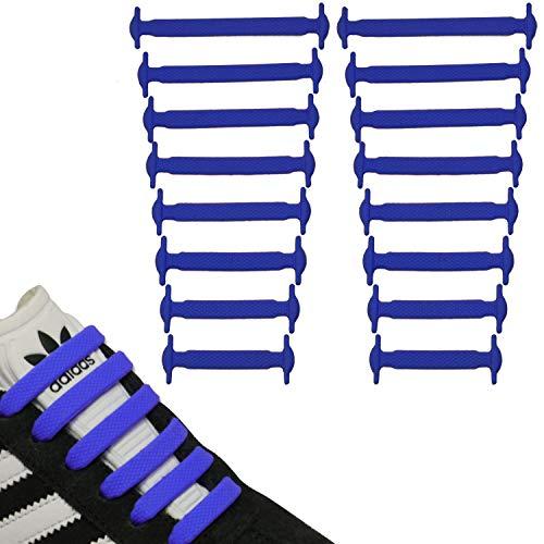 JANIRO Elastische Silikon Schnürsenkel flach | flexible schleifenlose Schuhbänder ohne Binden | Kinder & Erwachsene - Dunkelblau
