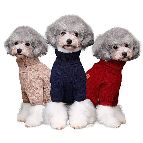 Etophigh Pet ademende opstaande kraag pullover lente en herfst gebreide opstaande kraag wol vloervorming shirt voor honden puppy's mantel, Large, beige