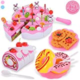 TEMI Pretend Play Food for kids, DIY 71 PCS Cutting Birthday Party Cake Toys Set w/ Candles Fruit...