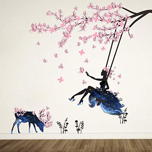 YFKSLAY Mädchen auf Baum Schaukel und Elch Silhouette Wandaufkleber mit rosa Schmetterlingen dekorative abnehmbare DIY Vinyl Wandtattoos für Wohnzimmer Schlafzimmer Wandbild