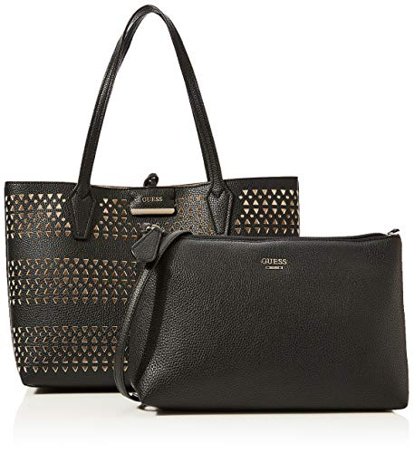 Guess Bobbi Inside out Tote, Borsa Donna, Multicolore (Black/Stone), 12.5x27x42.5 cm (W x H x L)