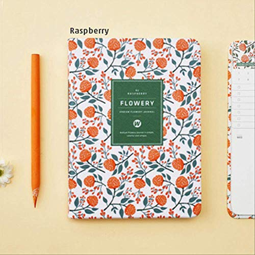 Calendario anual vintage floral semanal diario mensual planificador diario organizador de papel cuaderno A6 agenda frambuesa