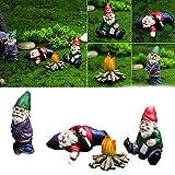 Chagoo Drunk Zwerg Gartenzwerge, Harz Feengarten Zwerg Figuren, Mikro-Landschaft Ornamente, für Terrasse, Hof, Rasen, Desktop Dekoration