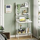 Itaar 4 Tier Ladder Bookshelf, Ladder Desk Shelf Bookcase, Storage Rack Shelves Living Room, Bedroom, Bathroom, Home Office, White