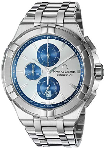 Maurice Lacroix Men's Aikon Swiss Quartz Watch with Stainless Steel Strap, Silver, 20 (Model: AI1018-SS002-131-1)