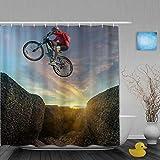 Judascepeda Duschvorhang,Springendes Fahrrad,Stoff Badezimmer Dekor Set mit Kunststoffhaken, enthalten - 180x210cm