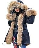 Roiii Plus Size Women Warm Fleece Vintage Winter Coat Hood Jacket Parka Outwear (3XL, Black Amry)