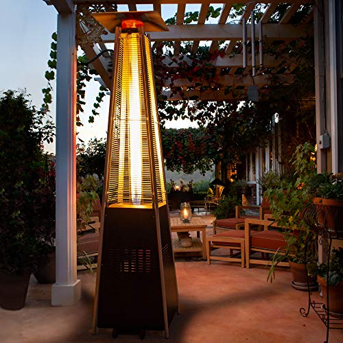 PAMAPIC Patio Heater, 42,000 BTU Pyramid Flame Outdoor Heater wtih Cover, Quartz Glass Tube Hammered Bronze Tower Propane Outdoor Heater with Wheels