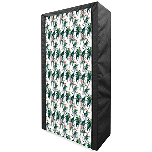 Ambesonne Jungle Portable Fabric Wardrobe, Subtropical California Brazil Botanical Nature Green Leaves Flowers, Clothing Organizer and Storage Closet with Shelves, 33.5', Hunter Green Coral White