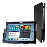 Kuesn Tab 2 10.1 gt-p5100 p5110 Cover case-Folio flip Book Cover case for Samsung Galaxy tab 2 10.1 Magnetic pu Leather Stand Cover (Black Grey)