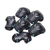 BLEVET 6PCS Protectores para Skate Patinaje Proteccion Protector de Muneca Guardias para Rodilleras y Coderas MZ071 (Black&Blue, M)