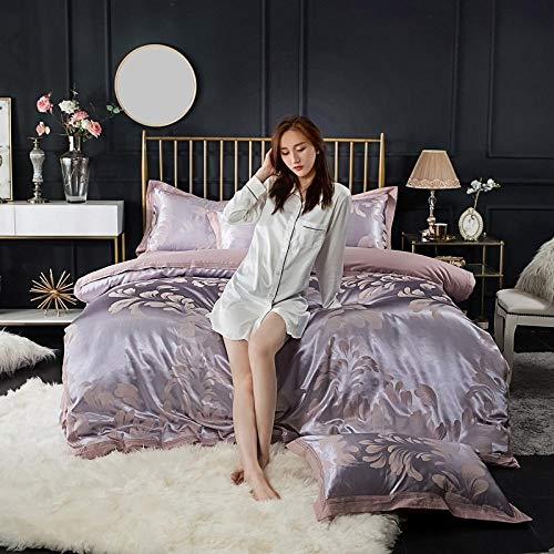 Fitted Sheets Wrinkle Stain Resistant Bed Sheet,Cotton satin jacquard bed set silk bed linen duvet cover bedding luxury simple men and women gift pillowcases-N1.5mmbed(4pcs)