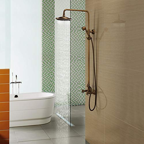 DKEE Equipo de Ducha Toda la Ducha de baño de Cobre Grifo de la Ducha Traje Antiguo Caliente y fría