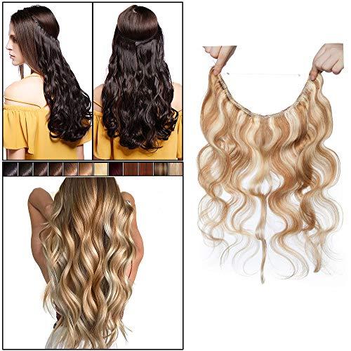 Elailite Extension Capelli Veri Filo Invisibile Balayage Remy Human Hair Umani Fascia Unica Ricci Ondulati 40cm (60 g) - 12#/613# Marrone Chiaro/Bleach Biondo