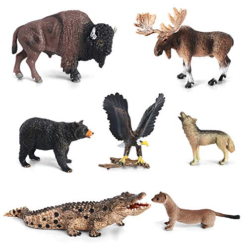 Animal Figurines Toys VOLNAU 7PCS North America Figures Zoo Pack for Toddlers Kids Christmas Birthday Gift Preschool Educational Moose Wolf Bear Jungle Forest Woodland Animals Sets
