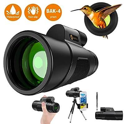 Monocular Telescope - 16X50 High Definition?Upgraded Monocular for Bird Watching? with Smartphone Holder & Tripod Waterproof & Eco-Friendly Lightweight Materials FMC BAK4 for Bird Watching, Hiking