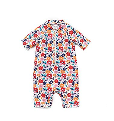 Baby Girls Sunsuits UPF 50+ One Piece S/S Swimsuits with Sun Hat(Flowers,24-36M)