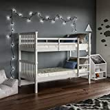 Vida Designs Milan Bunk Bed With Ladder, Kids Twin Sleeper, Solid Pine Wood Frame, Children's, Single 3 Foot, White