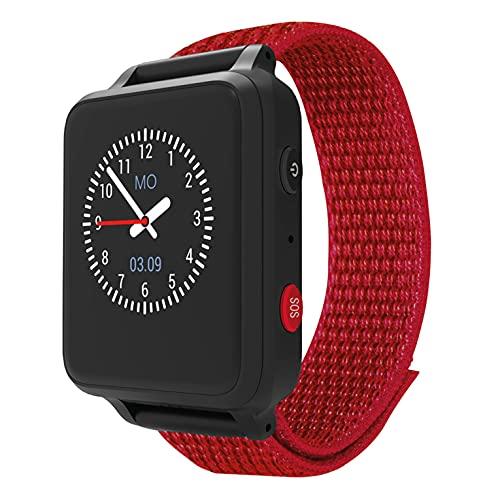 ANIO 5 (rot) - Telefon Uhr für Kinder - Anrufe, Nachrichten, Schulmodus, SOS Funktion, GPS, Schrittzähler, Wetter, Abschaltbare Ortung, DSGVO konform, Server & App Made in Germany