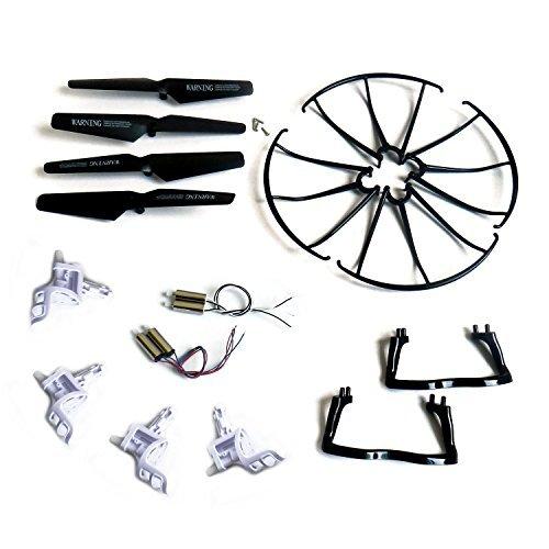 Bestdeal24h (TM) Syma X5 X5c x5c-1 M68 M68R Quadcopter Full Part Set 4*motors Propellers Landing Skid Protective Covers Motor Base Black Color