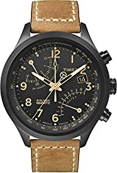 Adjustable tan 20mm genuine leather strap fits up to 8-inch wrist circumference Black dial with date window at 3 o'clock; full Arabic numerals; 2 retrograde subdials 4-hour chronograph measures to 1/5th second; second time zone Black 43mm stainless s...