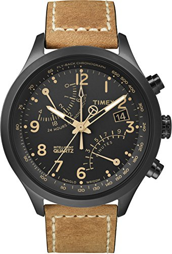 Timex Men's TW2R54900 Intelligent Quartz Fly-Back Chronograph Black Leather Strap Watch