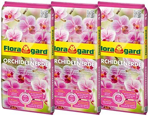 Floragard Orchideenerde 3x5L - für Phalaenopsis und andere Orchideenarten - mit Premium-Dünger und Pinienrinde